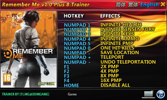 Remember Me +8 Trainer [FliNG]