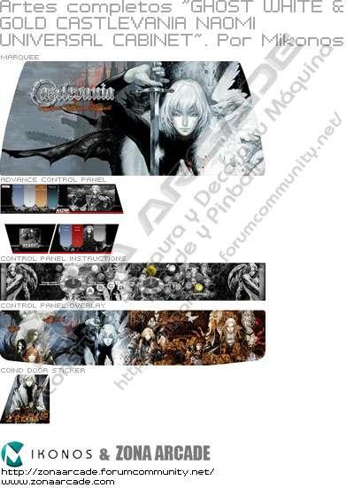 "Artes completos para decorar la máquina recreativa arcade ""White Ghost & Gold Castlevania Naomi Universal cabinet"""